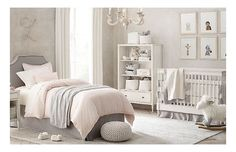 Rooms | Restoration Hardware Baby & Child. Love the pink dotted swiss comforter, the bookshelf with drawer, and framed artwork that can be easily changed as she grows or moved.