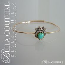 (ANTIQUE) Rare Gorgeous Georgian Victorian Rose Cut Diamond & Persian Turquoise Puffy Heart 18K Yellow Gold Bandle Bracelet