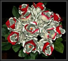 Money Rose Bouquet Available upon request with any denomination of bills. For price and ordering please text, message or call Margarita @ 818-903-2202