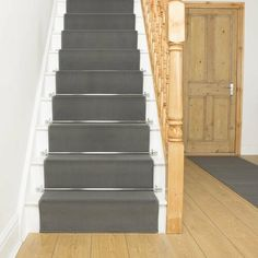 Indoor / outdoor carpet Altadena in light gray Rosalind Wheeler Carpet size: runner 70 cm x 600 cm Grey Stair Carpet, Carpet Staircase, Dark Carpet, Beige Carpet, Stairs With Carpet Runner, Modern Carpet, Staircase Runner, Indoor Outdoor Carpet, White Stairs