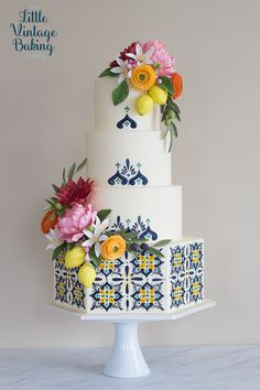 Mediterranean Tile and Sugar Flowers Cake – The Little Vintage Baking Company - Cake Decorating Cupcake Ideen Wedding Cake Prices, Fall Wedding Cakes, Wedding Cake Designs, Pear And Almond Cake, Almond Cakes, Pretty Cakes, Beautiful Cakes, Mediterranean Tile, Vintage Baking