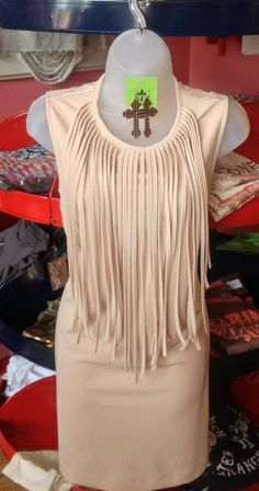 Fringe dress...YES! You can layer it up for the cooler days or wear it for those HOT summers days. Ivory, short dress, Yayagurlz