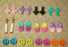 Cute Perler Bead Earrings and Keychains! Inverted Cross - Regular Cross - Cigarette - Pills - Peace Signs on Etsy, $4.00