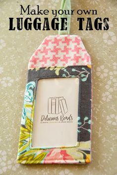 50 Sewing Projects for Beginners Sewing Projects for Beginners - DIY Luggage Tags - Easy Sewing Project Ideas and Free Patterns for Basic Clothing, Kids Clothes, Quick Baby Gifts, DIY. Easy Sewing Projects, Sewing Projects For Beginners, Sewing Hacks, Sewing Tutorials, Sewing Crafts, Sewing Tips, Sewing Ideas, Bags Sewing, Scrap Fabric Projects