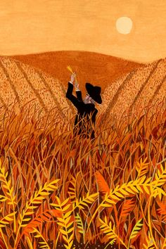 For shmurah matzo, the guarding against chametz begins not in the bakery but in the field, with rabbis overseeing the grain from harvest through to milling. (Illustration: Andrew Chuani Ho)