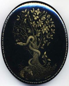 Lapshin, Palekh lacquer box, The Tree of Knowledge