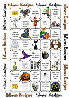 A collection of English ESL worksheets for home learning, online practice, distance learning and English classes to teach about halloween, halloween Halloween Board Game, Halloween Names, Halloween Activities For Kids, Holidays Halloween, Halloween Kids, Halloween Crafts, Halloween Vocabulary, Halloween Worksheets, English Games