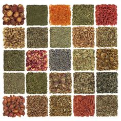 Dried herb, spice, flower and fruit selection used in cooking and medicinal healing, in patchwork design, isolated over white background. Herb Art, Art Deco, Healthy Herbs, Cooking Ingredients, Drying Herbs, Natural Life, Health And Wellbeing, Organic Skin Care, Dog Food Recipes