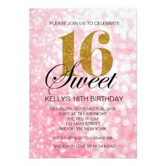 pink and gold sweet 16 invitations | Pink Sweet 16 Gold Glitter Lights Invitation | Zazzle