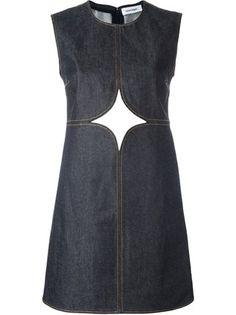 Courrèges джинсовое платье с декоративными вырезами