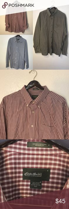 Eddie Bauer Wrinkle Resistant Button Up Bundle Eddie Bauer Wrinkle Resistant Button-Up Plaid Men's Shirts. Bundle of three shirts in Brand New Excellent Condition 😁👍🏼 all three are size XXXL. Prices are flexible!!! Eddie Bauer Shirts Casual Button Down Shirts