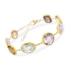 """Ross-Simons - 34.70 ct. t.w. Multi-Stone and Rose Quartz Bracelet in 18kt Gold Over Sterling. 7"""" - #840732"""