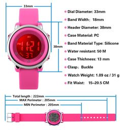 aebbc427d04 MSVEW Kids Sports Digital Watch Girls Waterproof Outdoor Sport Watch with  Alarm Wrist Watches for Childrens