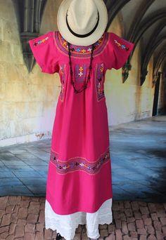Hot Pink Embroidered Dress, Albarradas Oaxaca Mexico Hippie Boho Santa Fe Style #Handmade #Dress