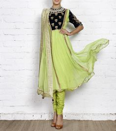 4a2a20e42c5c5 Green Chiffon Anarkali Suit with Gota Work