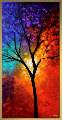 Abstract and Modern Paintings - Osnat Fine Art vertical colorful landscape tree large art Diy Canvas Art, Acrylic Painting Canvas, Fall Canvas, Canvas Ideas, Canvas Canvas, Acrylic Art, Fine Art, Landscape Paintings, Modern Paintings