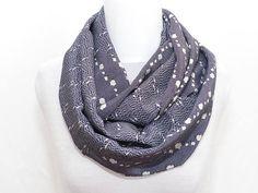 Polina Couture - Snood en soie pour femme, Bleu Blanc Gris, fluide, double 294c7c4854b