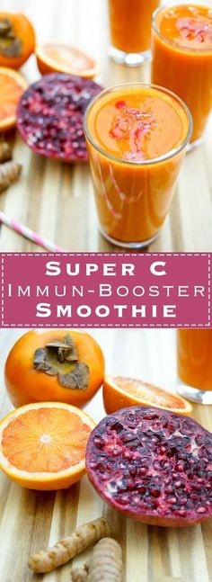 Super C Smoothie mit Kaki und Zitrusfrüchten Gesunder Drink voller Vitamin C und Antioxidantien. Das liefern Zutaten wie Grapefruit, Blutorange, Zitrone, Granatapfel, Kaki und Kurkuma. Obst-Smoothie