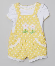 Another great find on #zulily! White & Yellow Polka Dot Layered Romper - Infant by Young Hearts #zulilyfinds