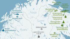 Pohjoisen Suomen ja lähialueen merkittävät joukko-osastot.