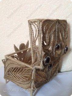 Поделка изделие Моделирование конструирование шкатулочка в стиле филигрань  Клей Металл Шпагат фото 2
