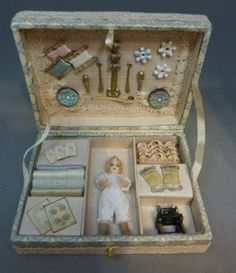Little Doll in a box with sewing accessories by dianeyunnie