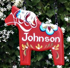 "Dala Horse Sign, 14"" solid wood"
