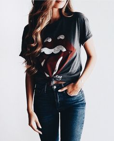 Cute tee with blue denim jeans.