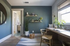 Green Scandinavian Home Office With Wishbone Chair Minimalist Scandinavian, Scandinavian Home, Green Home Offices, Dark Walls, Blue Walls, Built In Desk, House Built, Spare Room, Open Shelving