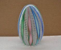 SMALL Incredible LATTICINO Filigrana MURANO Glass PAPERWEIGHT Egg ORIGINAL Label