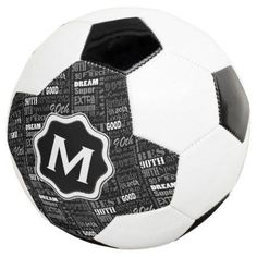 Fun 90th Birthday Party Personalized Monogram Soccer Ball - black and white gifts unique special b&w style
