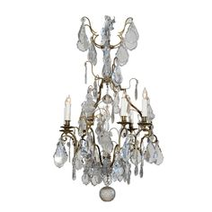 19th Century French Louis XV Style Bronze and Crystal Chandelier | From a unique collection of antique and modern chandeliers and…