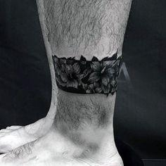 Lower Leg Floral Black Band Flower Mens Tattoo