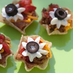Taco-Cups-Recipe, great and quick idea for teenage parties!  Tostitos bowl style chips refried beans Salsa sour cream olives  jalapenos