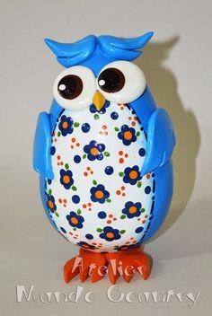 Tays Rocha: Novidade! Corujinhas coloridas e estampadas de cabaça! #artesanato…