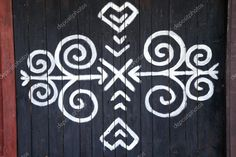 Photo about The ornament from Cicmany, a slovak folk pattern. The village Cicmany with the painted wooden houses is on the list of UNESCO. Image of famous, design, architecture - 57671999 Folk Embroidery, Embroidery Patterns, Ainu, Slavic Tattoo, Photo Ornaments, Symbol Tattoos, Pattern Art, Folk Art, Diy And Crafts