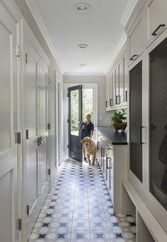 MUD ROOM / PANTRY locker doors with mesh, soapstone counters, cement tile floors Mudroom Laundry Room, Laundry Room Design, Living Room Designs, New Homes, Layout, House Design, Door Design, Interior Design, Home Decor
