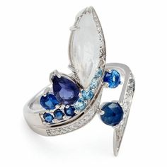 Butterfly Wrap Ring - 18k White Gold & Sapphires, Rainbow Moonstone, W – Anna Sheffield Jewelry Flying Flowers, Diamond Gemstone, Rainbow Moonstone, Blue Sapphire, Fine Jewelry, White Gold, Wedding Rings, Anna Sheffield, Gemstones