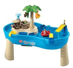 Hours of fun at your own tropical island resort! Send the little people down the slide or off the diving board. Spin the water wheel carousel or pump the geyser to watch the water flow! Includes a 16 piece accessory set with a mom, dad, boy, girl figurine, monkey and leaf spinners, fish and dolphin squirters, slide catapult, cup, boat, pivoting gate and net, octopus carousel and post with 2 swings.