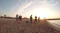 Urban Gorillas Fitness, swimming in the Mediterrean off Barcelona beach, Barceloneta. Preparing for Barcelona triathlon.