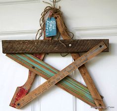 Salvaged wood scrap star - how eclectically cool! By Beyond the Picket Fence, featured on I Love That Junk