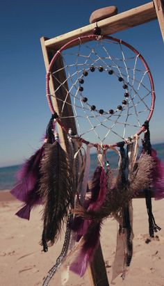 Purple leather large Dream Catcher white web with by EpicDreamtime, $30.00