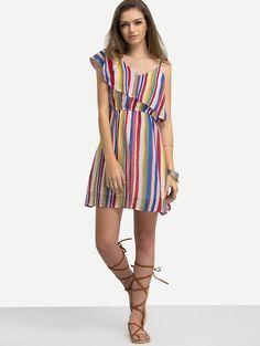Multicolor Vertical Striped One Shoulder Ruffle Dress   MakeMeChic.COM