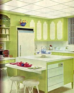 1960's Kitchen - love the lime green color