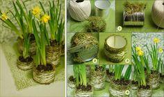 Moss pots made out of tin cans DIY Moss Wedding Centerpieces