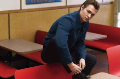 DETAILS March 2015 - Ansel Elgort - Jacket and pants by Prada. Shoes by Church's. Socks by Turnbull & Asser.