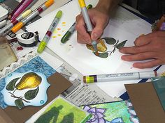 Copic marker coloring, card making class