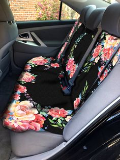 Classy Black Floral Car Seat Cover Back Seat Car Cover Back Seat Cover For Car Accessories Seat Covers For Car For Vehicle Seat Protectors by ChicMonogram on Etsy