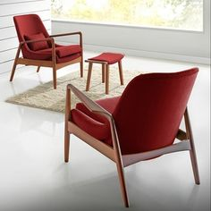 Shop for Baxton Studio Dixon Mid-century Modern Brown Pine Finished Red Fabric Upholstered Lounge Chair. Get free shipping at Overstock.com - Your Online Furniture Outlet Store! Get 5% in rewards with Club O!