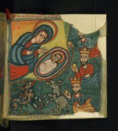 Illuminated Manuscript, Gondarine sensul, Adoration of the Magi, Walters Manuscript 36.10, fol. 2r